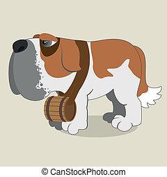 Saint Bernard - Cartoon illustration of Saint Bernard dog