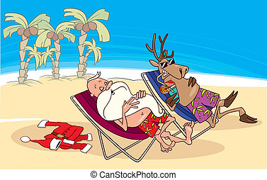 santa and reindeer having a rest on the beach - cartoon...