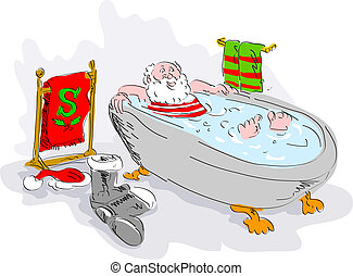 cartoon illustration of santa in bath tub relaxing - cartoon...