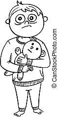 Cartoon Illustration of Scared Boy in Pyjamas Holding a Teddy Bear