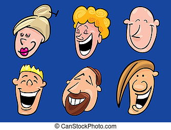 set of laughing faces - Cartoon illustration of set of...