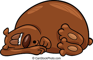 Sleepy bear - cartoon illustration of Sleepy bear