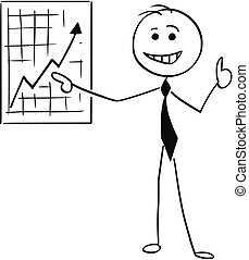 Cartoon Illustration of Smiling Business Man Pointing at Wall Graph Chart