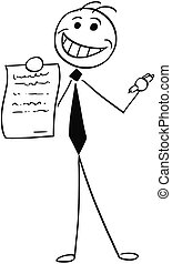 Cartoon Illustration of Smiling Businessman Salesman Offering a Contract or Agreement to Signing