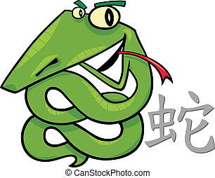 Snake Chinese horoscope sign - cartoon illustration of Snake...