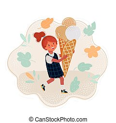 Cartoon illustration of Summer girl eating icecream.