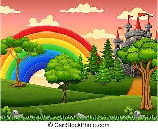 Cartoon illustration of tale castle on hill landscape