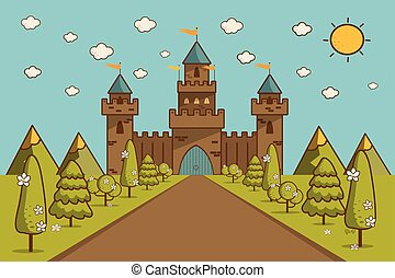 Cartoon Illustration of Tale Castle on Hill Landscape.