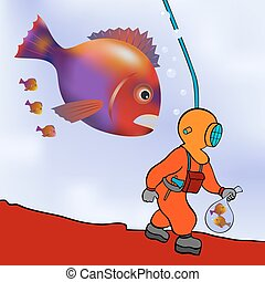 cartoon illustration of the deep sea diver on the prowl - vector