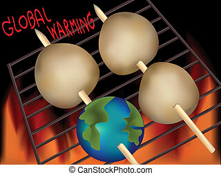 global warming - Cartoon Illustration of the earth...