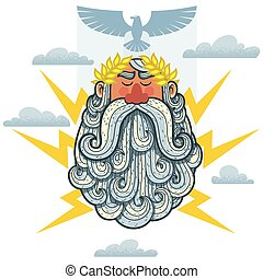 Zeus - Cartoon Illustration of the Greek God Zeus.