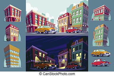 cartoon illustration of the historic urban area