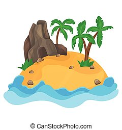 Cartoon illustration of the small tropical island