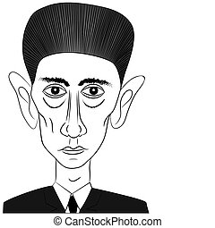 Franz Kafka - vector - Cartoon illustration of the world-...