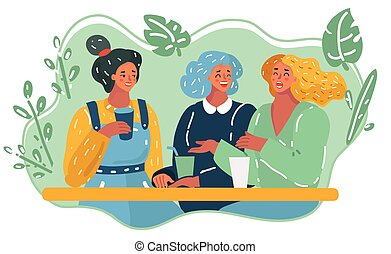 Cartoon illustration of three girls in cafe. Talking and laughing happy female characters. Conversation and friendship concept.