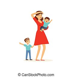 Cartoon illustration of tired mother and her sons