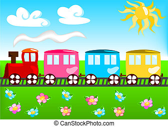 Cartoon illustration of train with landscape