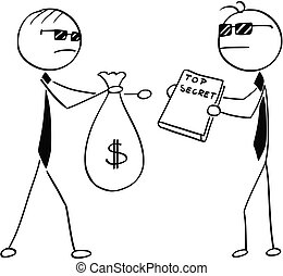Cartoon Illustration of Two Agents Spies Business Men Selling Secrets for Money