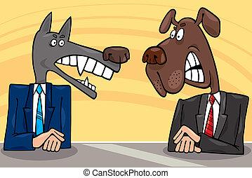 cartoon illustration of two antagonist politicians debate