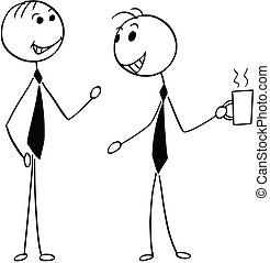 Cartoon Illustration of Two Men Male Business People Talking Chatting