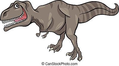 cartoon illustration of tyrannosaurus dinosaur - Cartoon...