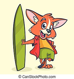 Cartoon illustration of white cute fox standing with his surfboard