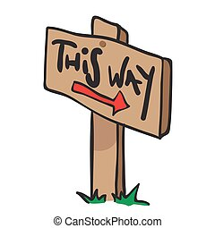 wooden sign with arrow