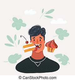 Cartoon vector illustration of young man eating cake on dark background.