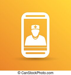 Cartoon illustration phone doctor character holding...