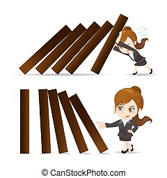 Business woman push domino - cartoon illustration set of...