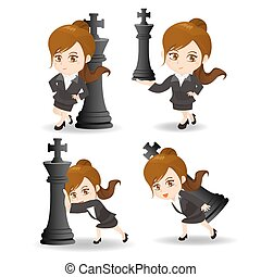 Business woman push chess - cartoon illustration set of...