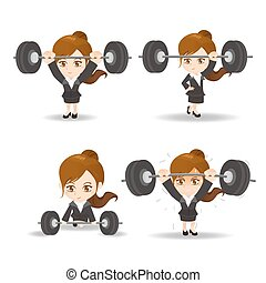 Business woman weight lifting