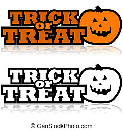 Cartoon illustration showing a carved pumpkin beside the words 'Trick or treat'