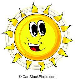cartoon., illustration, vecteur, sun., retro, heureux