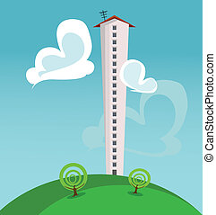 skyscraper - cartoon illustration with a single high ...