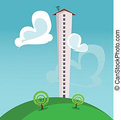 cartoon illustration with a single high skyscraper