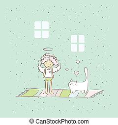 Cartoon illustration with angel and cat