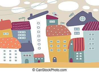 Cartoon illustration with cute colorful houses.