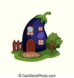 Cartoon illustration with fairy house in form of ripe purple...