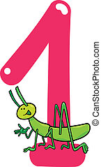 number one and grasshopper - cartoon illustration with...