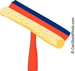 Cartoon illustration with squeegee isolated on white...
