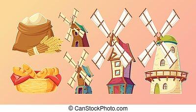 Cartoon illustrations traditional old windmills.