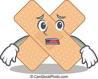 Cartoon image design cross bandage showing worried face