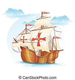 Cartoon image of a sailing ship of Spain, XV century