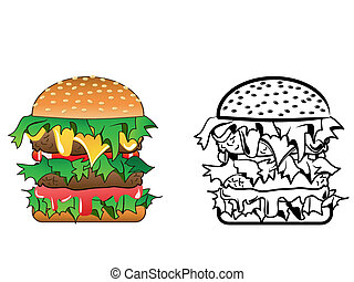 Cartoon image of a variety of cheeseburger - both color and black / white versions