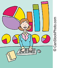 accountant - cartoon image of an accountant with charts in...