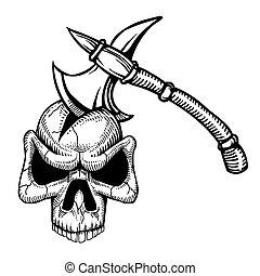 Cartoon image of axe in skull
