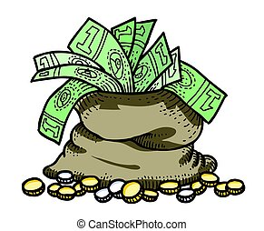 Cartoon image of bag of money
