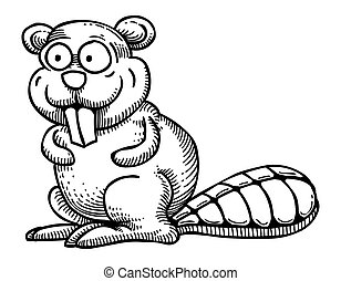 Cartoon image of beaver. An artistic freehand picture.