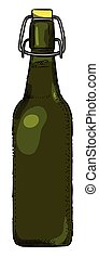 Cartoon image of Beer bottle Icon. Glass bottle symbol